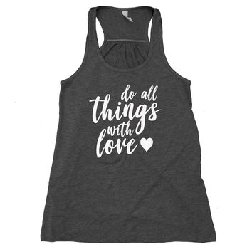Do All Things With Love Tank Top Positive Yoga Hippie Flowy Racerback Tank