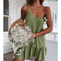 2019 new women's fashion halter V-neck zip dress Green