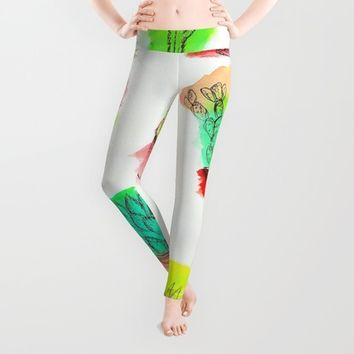Colored Cactus Leggings by Yuval Ozery