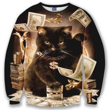Rich Black Fortune Kitty Cat on Piles of Cash All Over Print Unisex Pullover Sweater