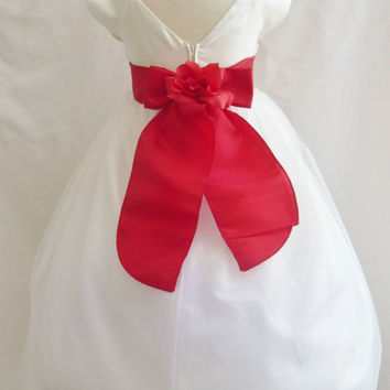 Flower Girl Dress VB IVORY RED Wedding Children Christmas Easter Recital Pageant Bridesmaid Communion Church Toddler Baby Cheap