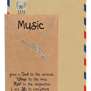 Cattleya Guitar Music Note Necklace, Gifts for Music Lovers