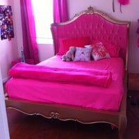 Fabulous and Baroque — Amelie Tufted Pink Baroque Upholstered Bed - Gold Leaf - Client Photo