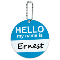 Ernest Hello My Name Is Round ID Card Luggage Tag