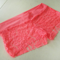 Neon Lace Boy Shorts Size X Large