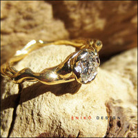 OOAK Flowing 18k gold Round Diamond Engagement ring by Eniko Design