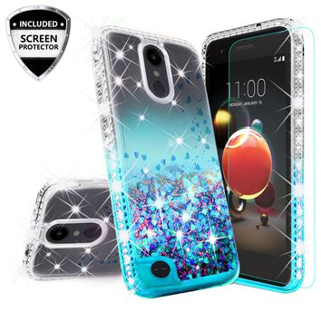 LG Aristo 2 Case, Aristo 2 Plus Case Liquid Glitter Phone Case Waterfall Floating Quicksand Bling Sparkle Cute Protective Girls Women Cover for Aristo 2 Plus/Aristo 2/Tribute Dynasty/LV3 2018 - Teal