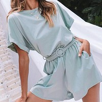 Solid Casual Women Playsuits Romper Beach Belt Tie Loose Female High Fashion Cotton Playsuit