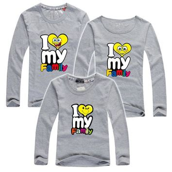 ONETOW My Family I Love T Shirts Summer Family Matching Clothes Father Mother Kids Children Outfits New Cotton Mother Daughter T Shirts