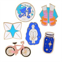 Enamel Pins Space in a Jar - Bike - Origami - etc..