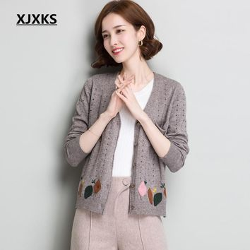 XJXKS Embroidered Sweater Cardigan Hollow Out Jacket Autumn New Knitwear Casual Tricot Sweaters Long Sleeves Women Coat