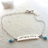 Mermaid Life - Sterling Silver and Turquoise Handmade Anklet Bracelet - Beach Boho - Hand Stamped Jewelry - Christina Guenther