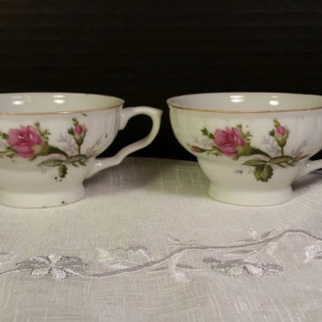 Rose Vintage Teacups Gold Trim Pair of Teacups Coffee Cups Made in Japan Pink Roses Dainty Tea Cups Shabby Chic Decor Cottage Chic Decor