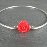 Silver Red Rose Bracelet, Red rose Bracelet, Rose Jewelry, Stacking Bangles, Silver Bracelet,  Bangle