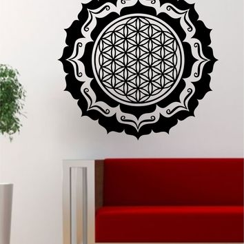 Mandala Flower of Life Version 4 Sacred Geometry Decal Sticker Wall Vinyl Art Design Yoga Om