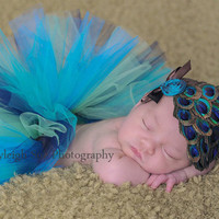 baby tutu peacock with matching feather pad headband rhinestone or dupioni silk flower