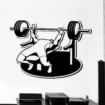 Wall Sticker Sport Bodybuilding Bench Press Barbell Athlete Vinyl Decal Unique Gift (z2996)