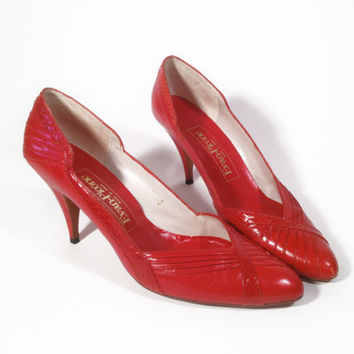 Vintage Red Leather and Snake Skin Evan Picone by ModernFiction