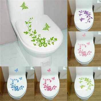 New Butterfly Flower vine bathroom wall stickers home decoration wall decals for toilet decorative sticker