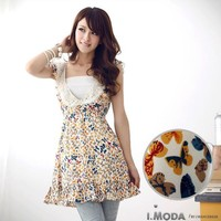 Collar butterfly print chiffon dress large size