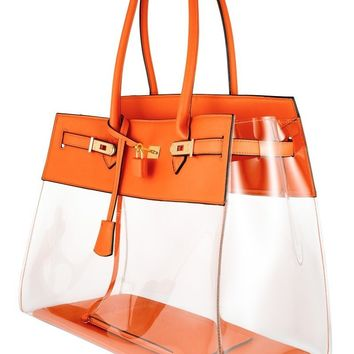 Tropical Orange Clear Bag