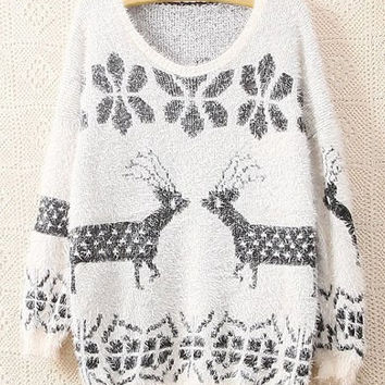 White Deer Pattern Long Sleeve Sweater