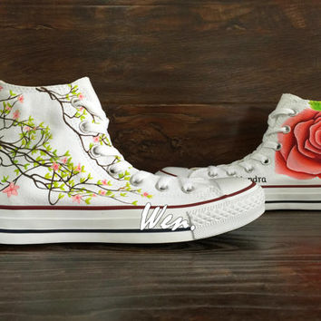 WEN Original Design Floral Converse Floral Shoes Hand Painted Shoes,Tulips Converse,Custom Converse Floral Art Best Christmas Gifts