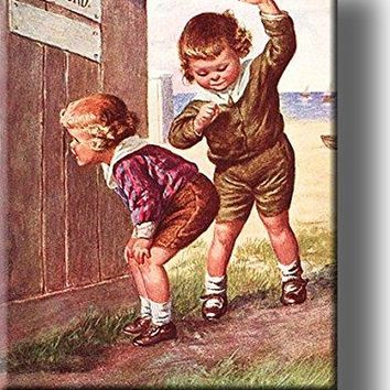 Boy Peeking into Ladies Outhouse Bathroom Picture on Acrylic Wall Art Décor, Ready to Hang!
