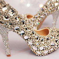 Luxury Diamd Sparkling Womens Silver Rhinestone High Stilettos Heels Spring Wedding Prom Dress Party Occasions Pumps Shoes