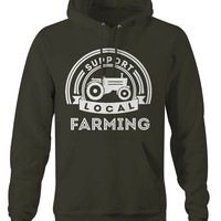 Farming Hoodies Support Local Farming Tractor Hoodie Farmer Pullover Organic Local Sweatshirts