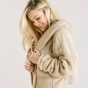 Stella Taupe Faux Fur Hooded Jacket