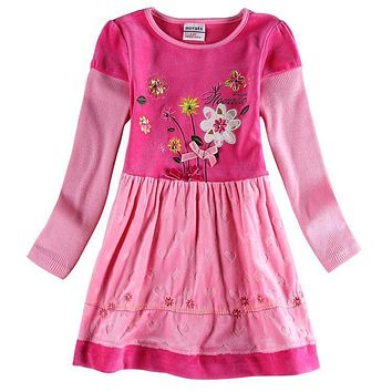 WINTER BABY KIDS GIRL CLOTHING WARM DRESS 2016 RETAIL NOVA KIDS EMBROIDERY FLORAL FROCK GIRL DRESS NEW CHILDREN GIRL CLOTHES