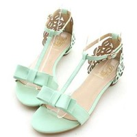 YESSTYLE: Miss Dora- Faux-Leather Ribbon-Accent T-Strap Thong Sandals - Free International Shipping on orders over $150