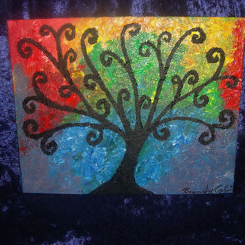 "8 x 10 Abstract Tree Oil Painting ""Subtlety"" 2012 Canvas Board"
