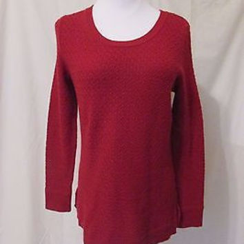 Talbots Crewneck Sweater Women's Petite Medium Red Scoop Neck
