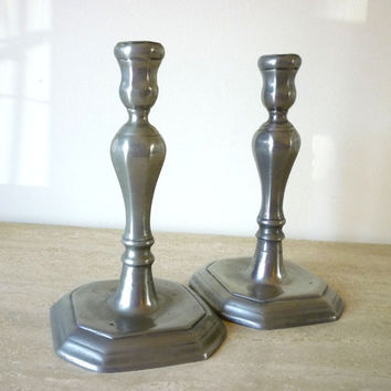 Vintage Pewter Candle Holders, Candlestick Holders, Pewter Home Décor