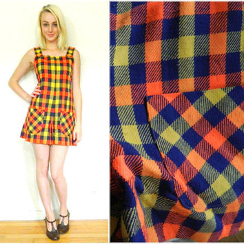 60s vintage romper / 60s mod playsuit / mini dress / plaid / size M