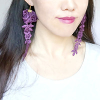 SALE black/purple lace earrings // hand dyed // gothic floral // large long earrings // floral earrings //gift for her