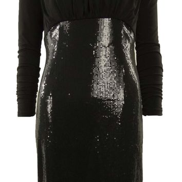 Sequined Ruched Jersey Cowl Back Sheath Dress