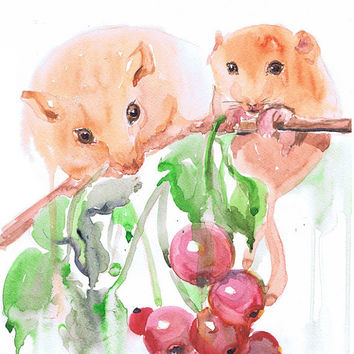 Little Mice Art Print Watercolor Mouse Rat Painting  Nursery Decor Kids Childrens Rodents Pet  Baby Wall art  Mother and baby Illustration