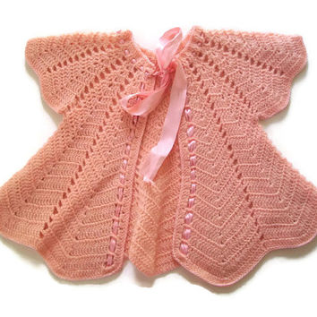 Vintage Crocheted Pink Baby Jacket 1940's