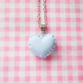 Macaron Necklace, Macaroon Necklace, Heart Macaron, Heart Macaroon, Food Necklace, Pretty Necklace, Cute Necklace, Pastel Blue, Powder Blue
