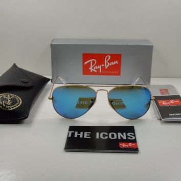AUTHENTIC RAY-BAN AVIATOR SUNGLASSES RB3025 112/17 GOLD/BLUE MIRROR LENS, 58MM