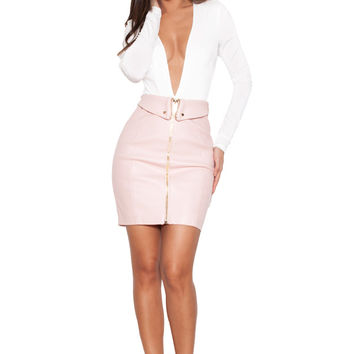 Clothing : Playsuits : 'Lorenza' White Silky Jersey Deep V Bodysuit
