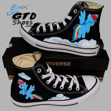Hand Painted Converse Hi. My little Pony. Rainbow Dash. Cartoon. Handpainted shoes.