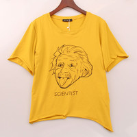 Womens Science Printed  Cropped T-shirt