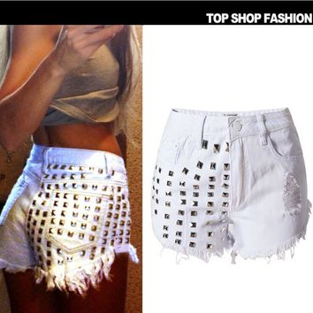 Fashion Sexy rivet hole wear high waist shorts cowboy hot pants White(3color)