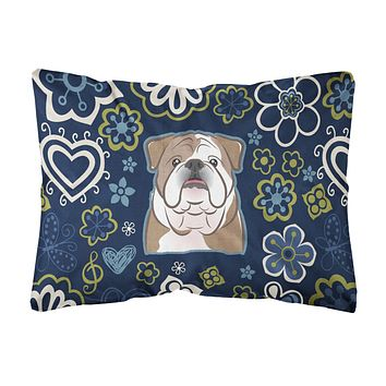 Blue Flowers English Bulldog Canvas Fabric Decorative Pillow BB5070PW1216