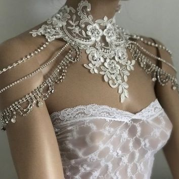 Bridal Dress Shoulder Necklace, Rhinestone Lace Shoulder Necklace, Wedding Shoulder Jewelry, Bridal Ivory Lace Shoulder Bridal Straps Bolero