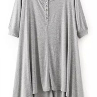 Grey Short Sleeve with Buttons Assymetrical Dress